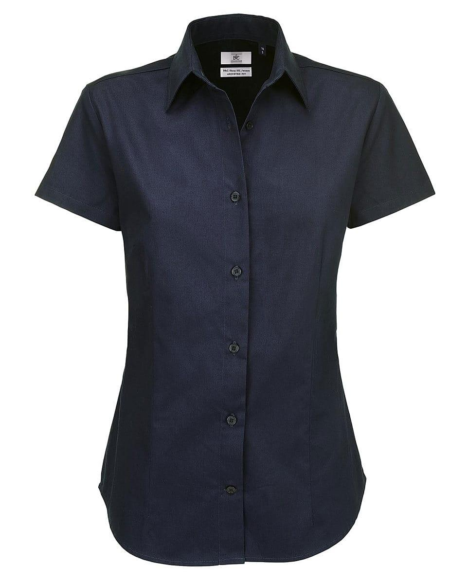 B&C Womens Sharp Twill Short-Sleeve Shirt in Navy Blue (Product Code: SWT84)