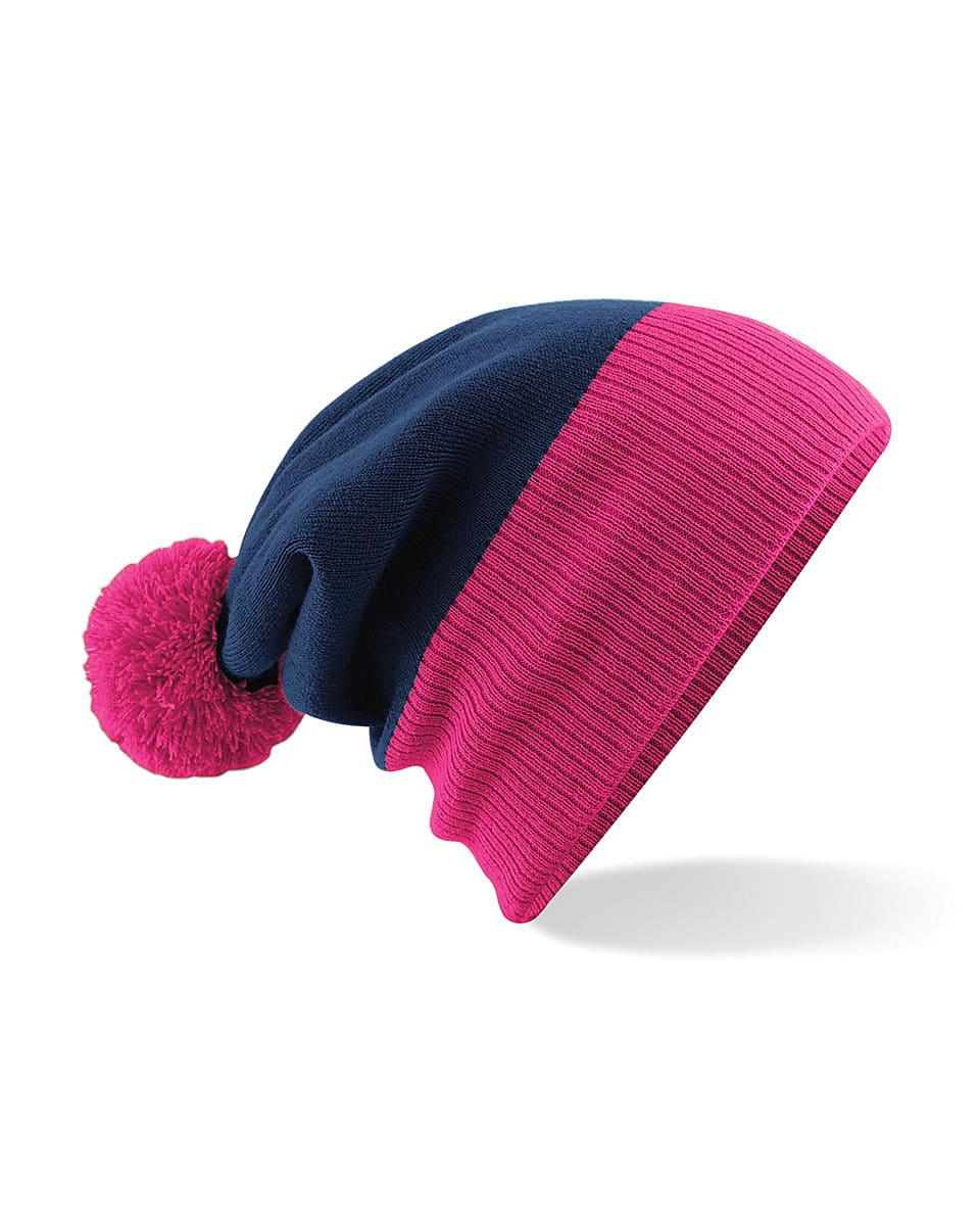 Beechfield Snowstar Two-Tone Beanie Hat in French Navy / Fuchsia (Product Code: B451)