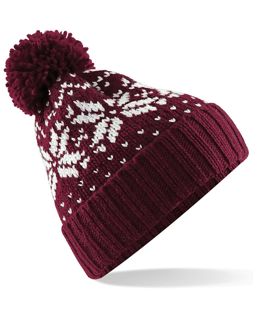 Beechfield Fair Isle Snowstar Beanie Hat in Burgundy / White (Product Code: B456)