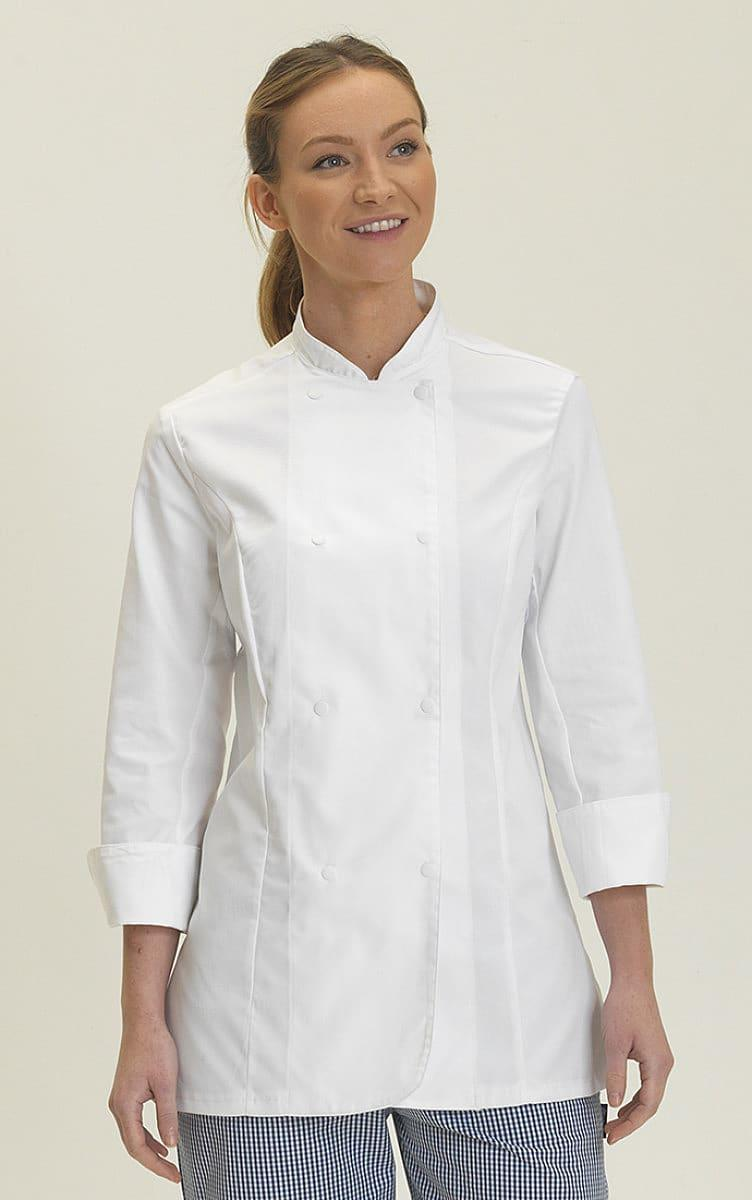 Dennys Womens Long-Sleeve Chefs Jacket in White (Product Code: DD33L)