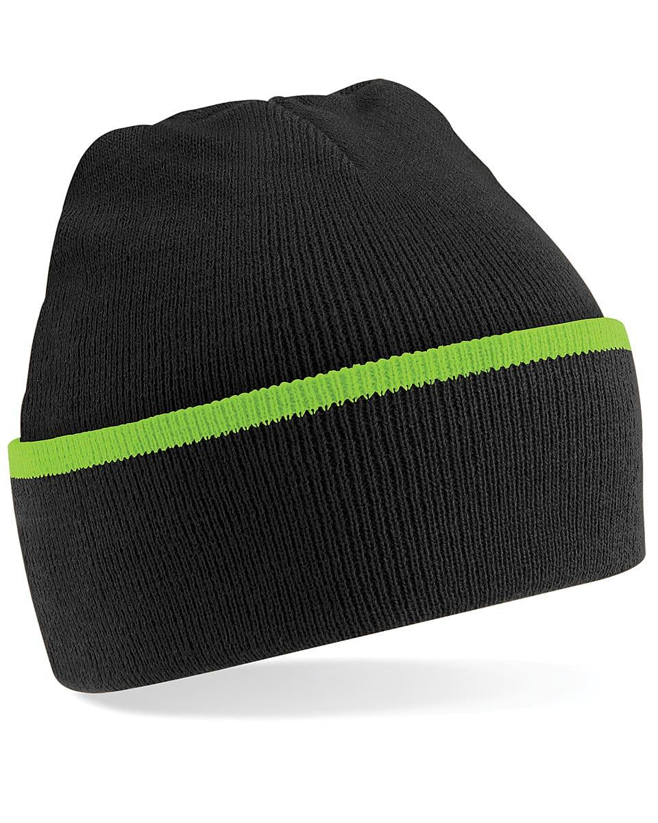 Beechfield Teamwear Beanie Hat in Black / Lime Green (Product Code: B471)