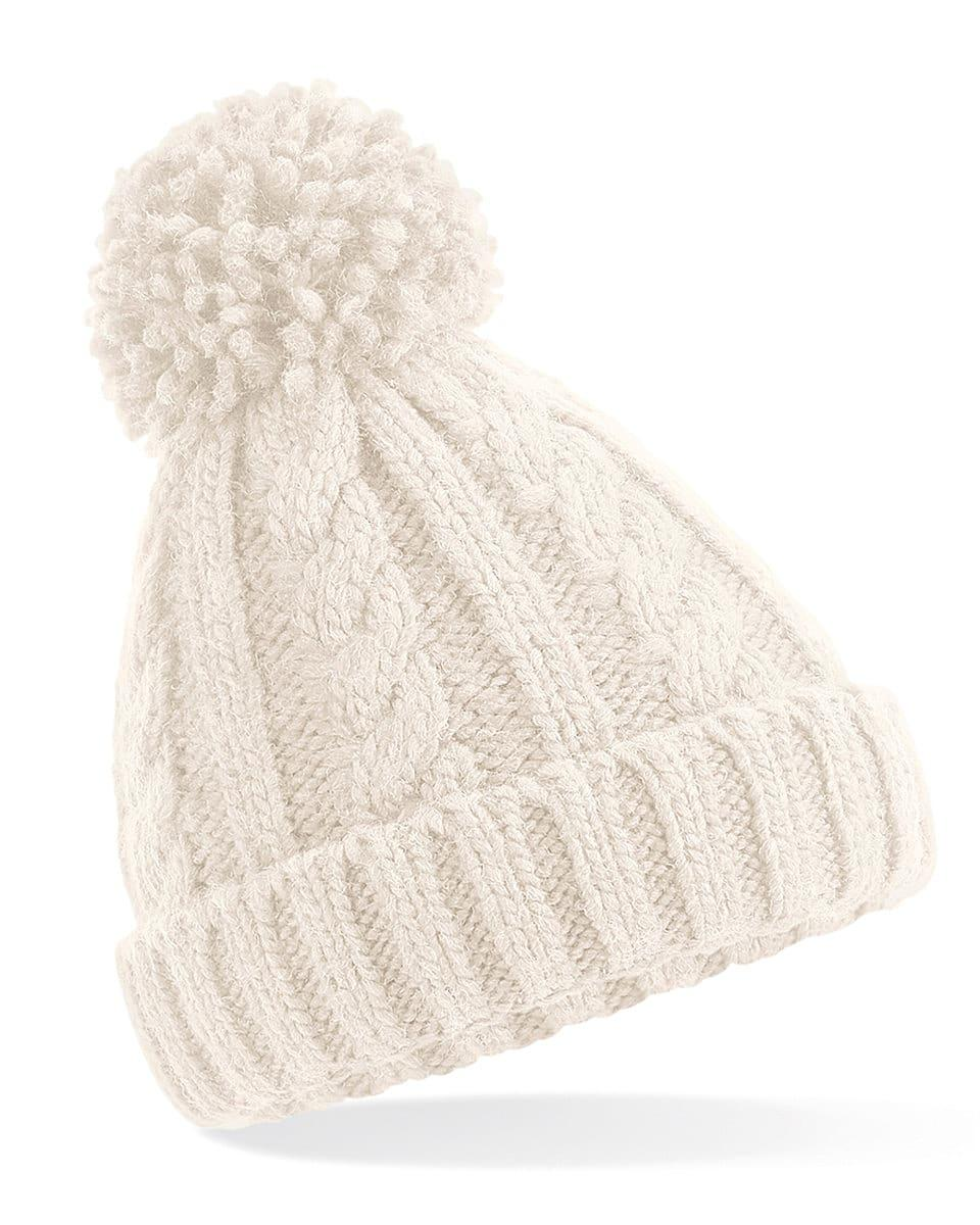 Beechfield Jr Cable Knit Melange Beanie Hat in Oatmeal (Product Code: B480B)