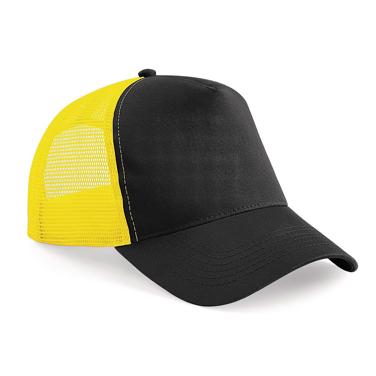 Beechfield Snapback Trucker Cap in Black / Yellow (Product Code: B640)