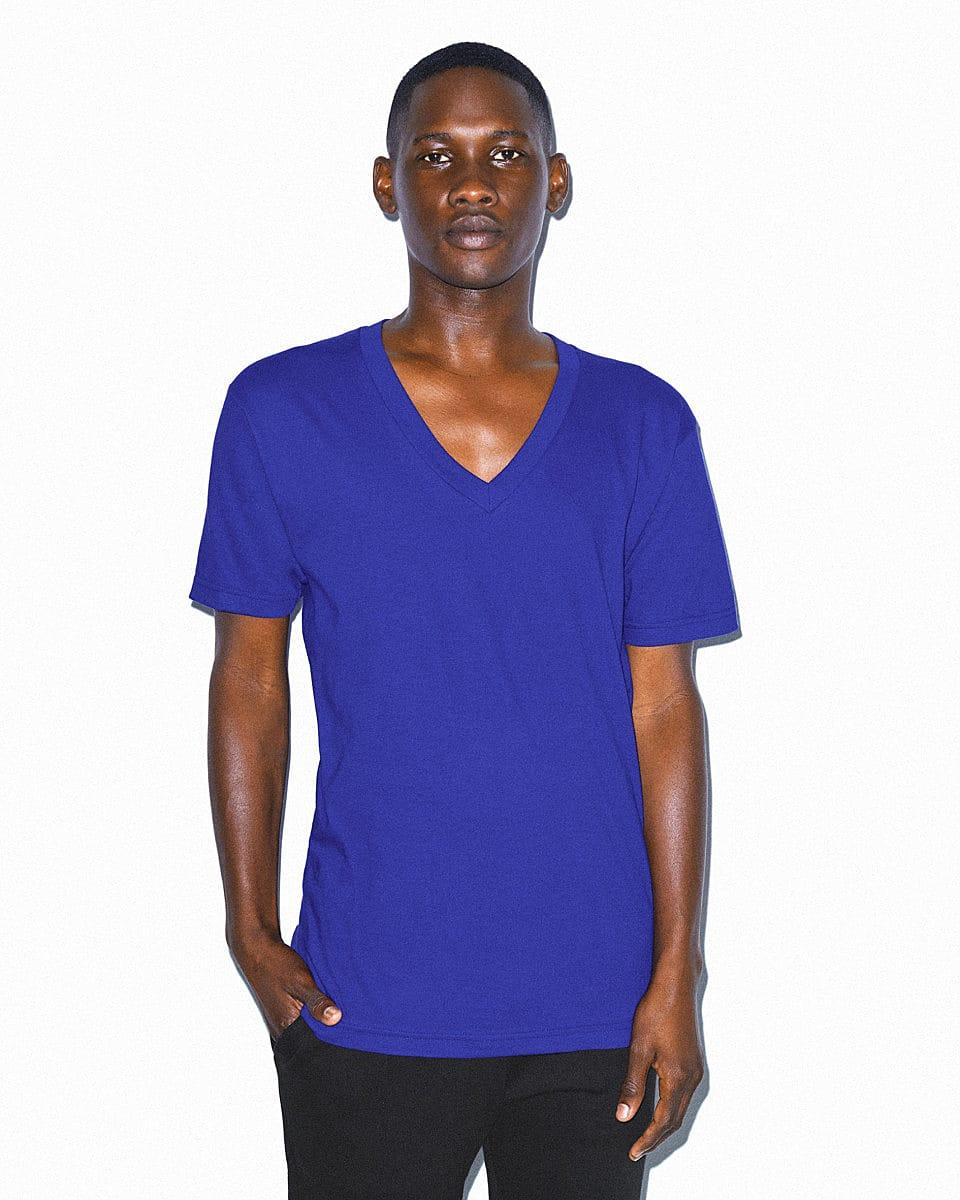 American Apparel Fine Jersey V-Neck T-Shirt in Lapis (Product Code: 2456W)