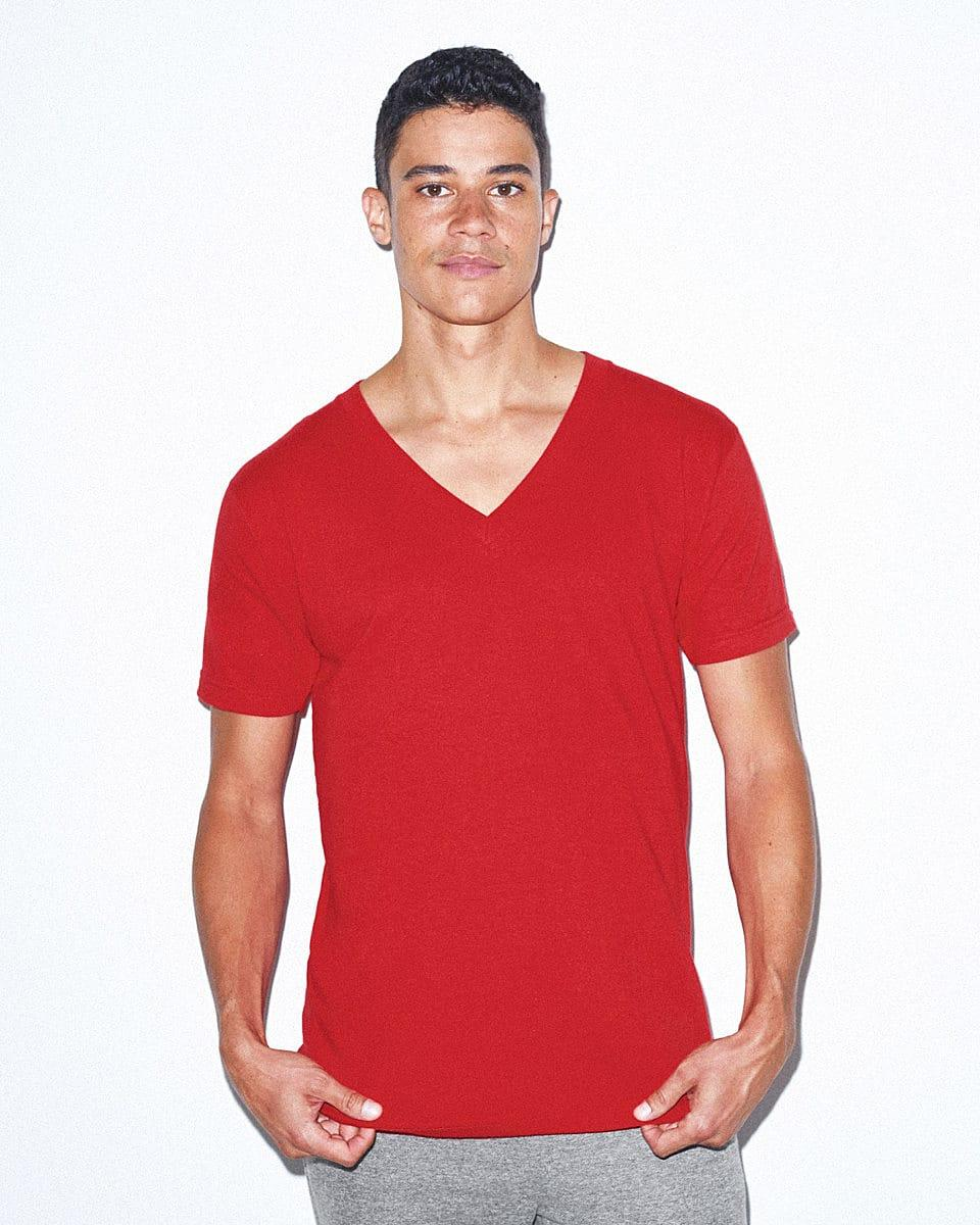 American Apparel Fine Jersey V-Neck T-Shirt in Red (Product Code: 2456W)
