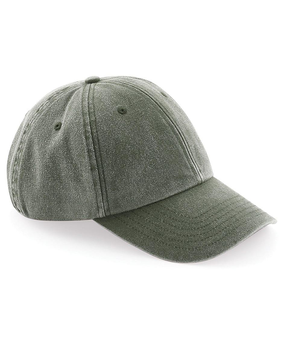 Beechfield Low Profile Vintage Cap in Vintage Olive (Product Code: B655)