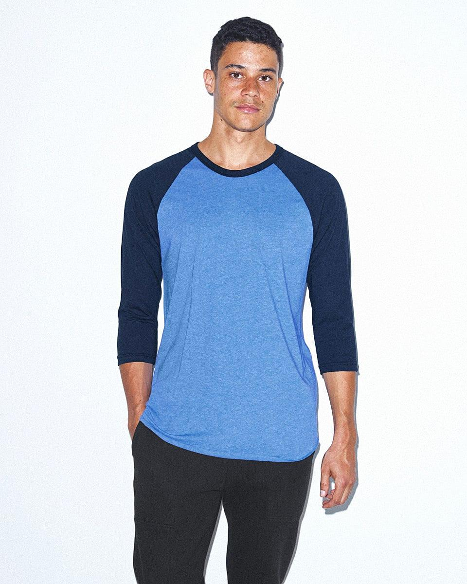 American Apparel 3/4 Raglan T-Shirt in Heather Lake Blue / Navy (Product Code: BB453W)