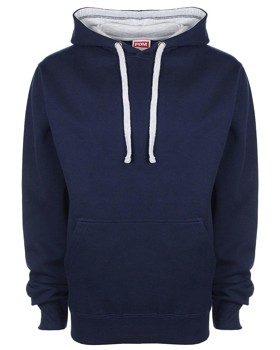 FDM Unisex Contrast Hoodie in Navy / Heather Grey (Product Code: FH002)