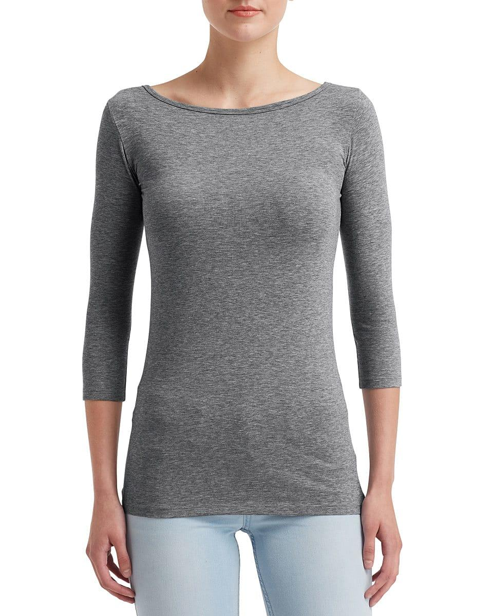 Anvil Womens Stretch 3/4 T-Shirt in Heather Graphite (Product Code: 2455L)