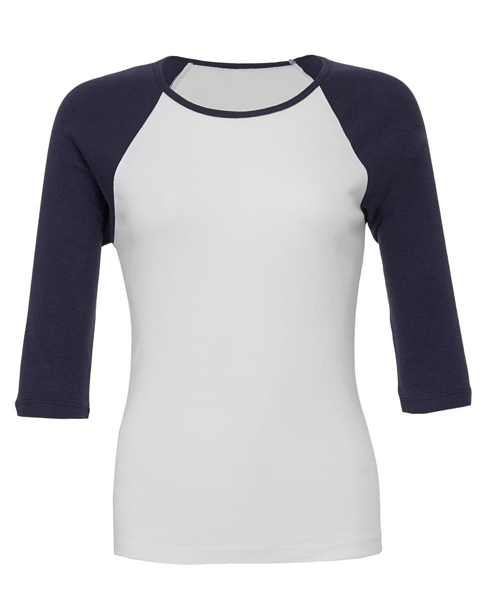 Bella Womens 3/4 Contrast T-Shirt in White / Navy (Product Code: BE2000)