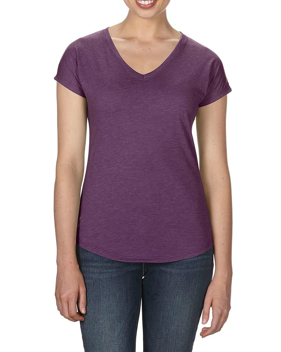 Anvil Womens Tri-Blend V-Neck T-Shirt in Heather Aubergine (Product Code: 6750VL)
