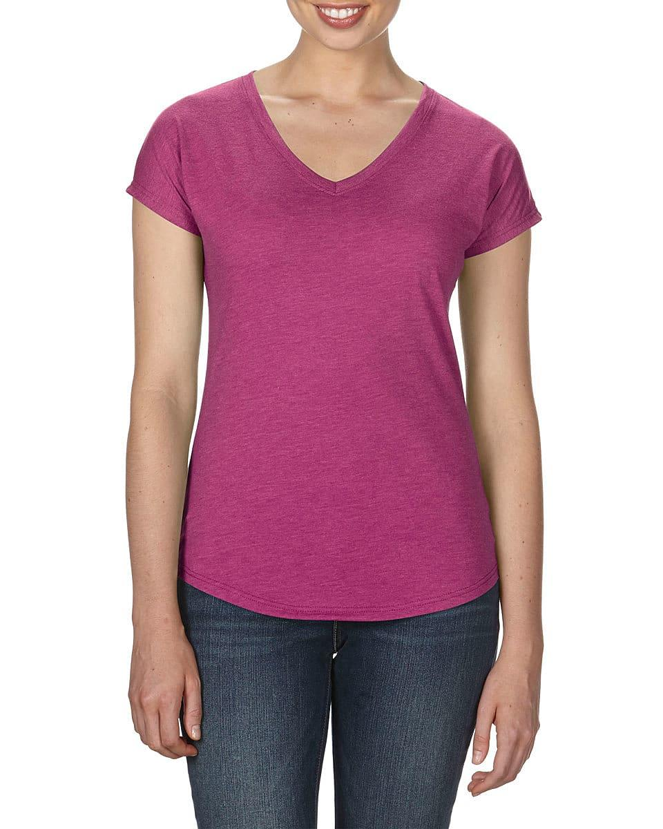 Anvil Womens Tri-Blend V-Neck T-Shirt in Heather Raspberry (Product Code: 6750VL)