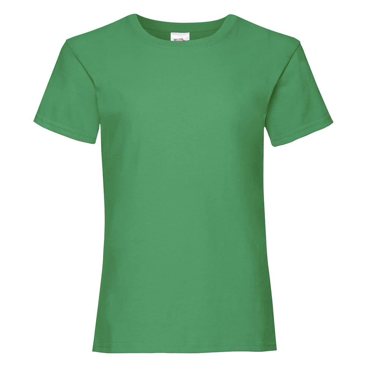 Fruit Of The Loom Girls Valueweight T-Shirt in Kelly Green (Product Code: 61005)