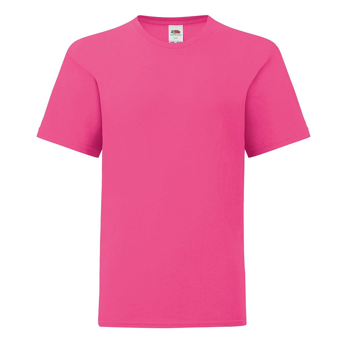 Fruit Of The Loom Kids Iconic T-Shirt in Fuchsia (Product Code: 61023)