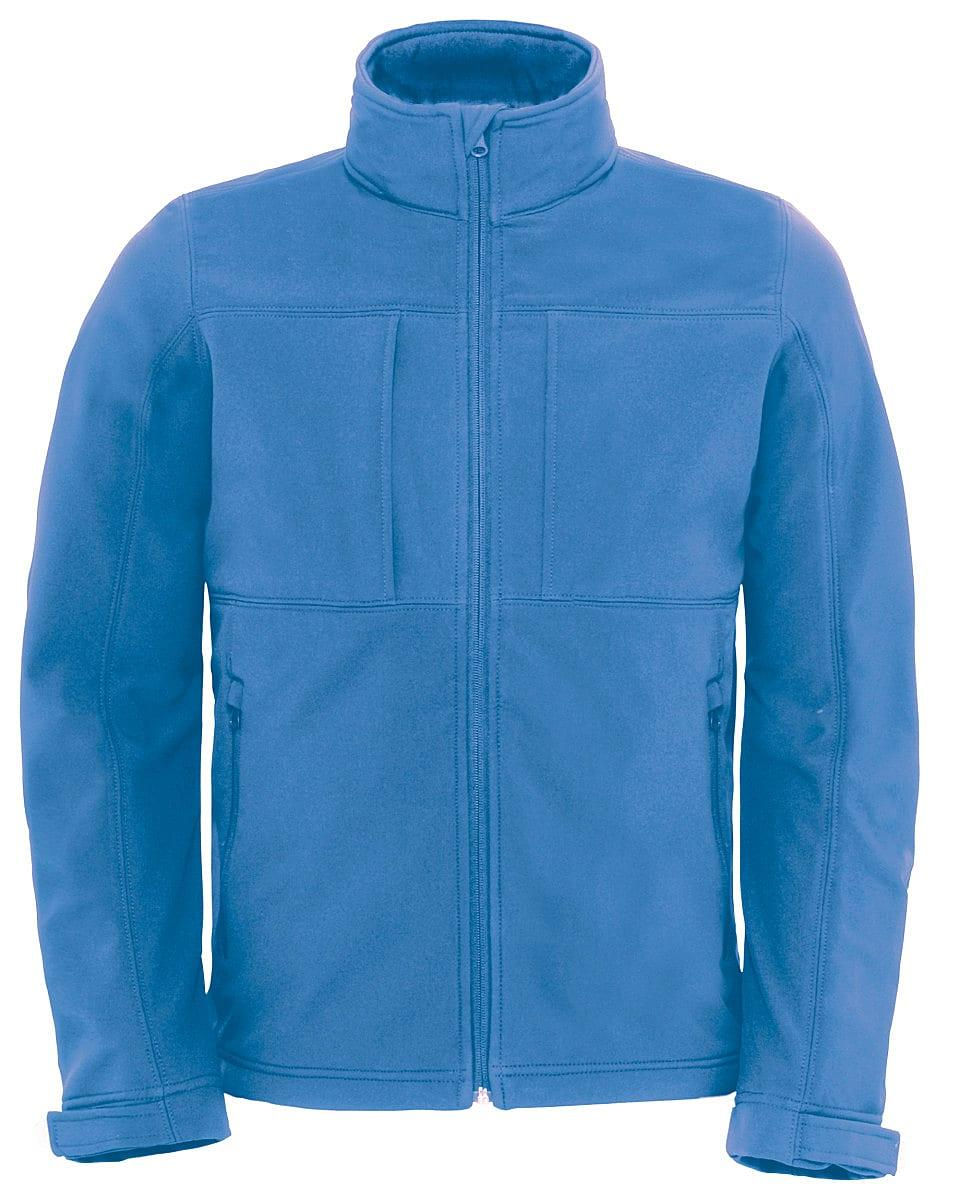 B&C Mens Hooded Softshell Jacket in Azure Blue (Product Code: JM950)