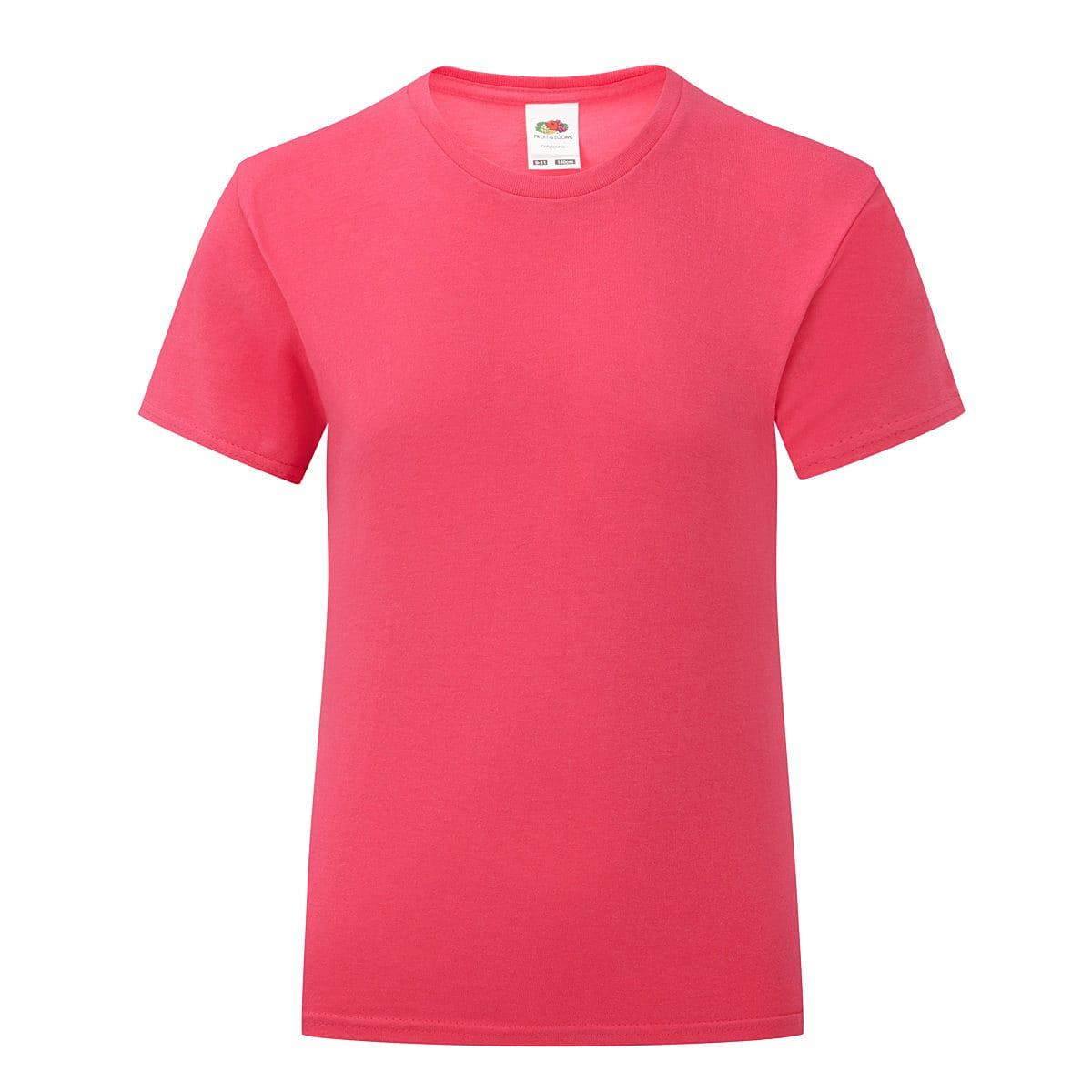 Fruit Of The Loom Girls Iconic T-Shirt in Fuchsia (Product Code: 61025)