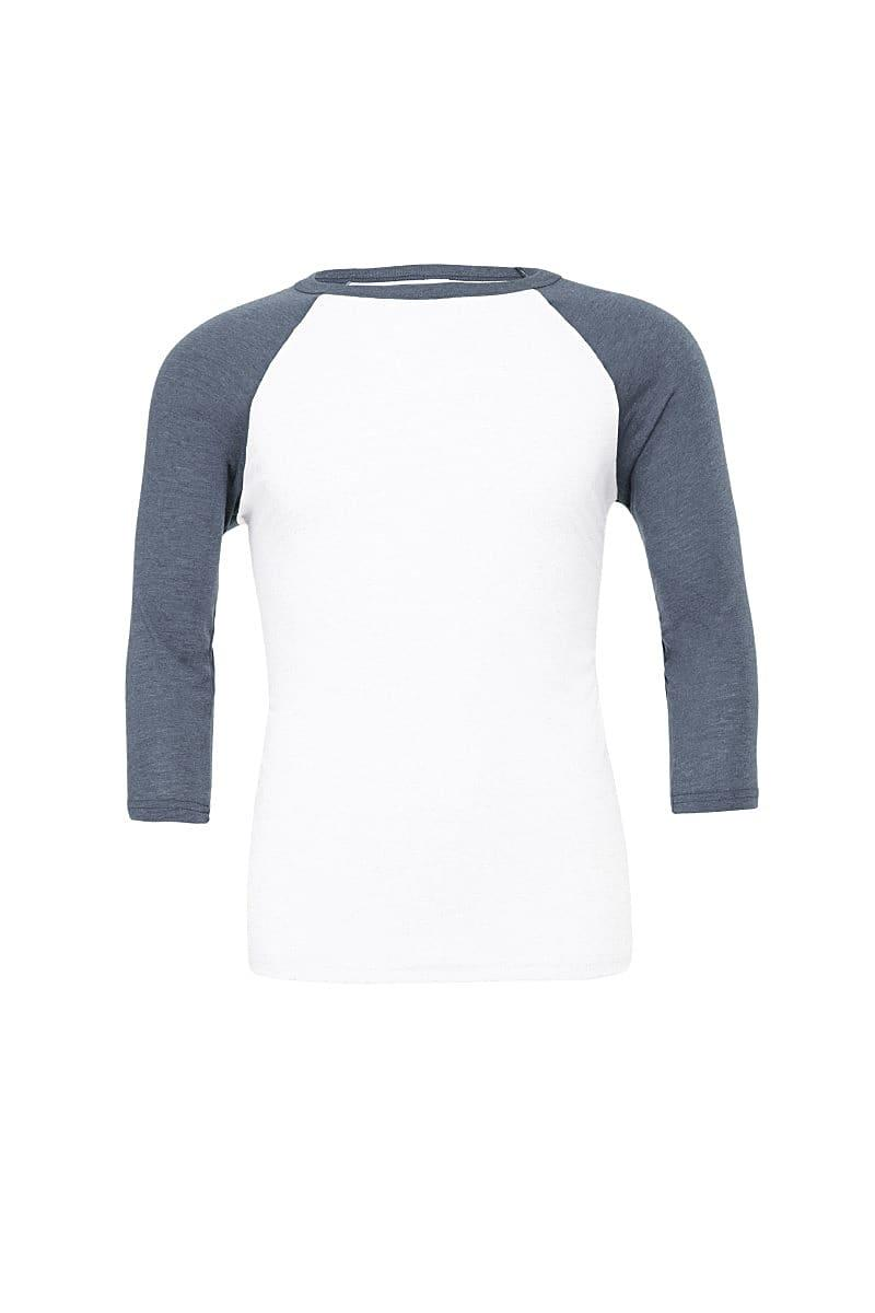 Bella Canvas 3/4 Baseball T-Shirt in White / Denim (Product Code: CA3200)