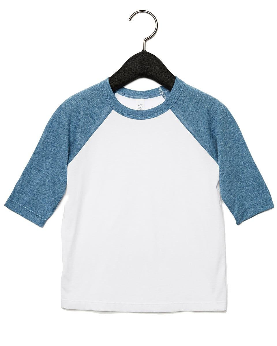 Bella Canvas Toddler 3/4 Baseball T-Shirt in White / Denim (Product Code: CA3200T)