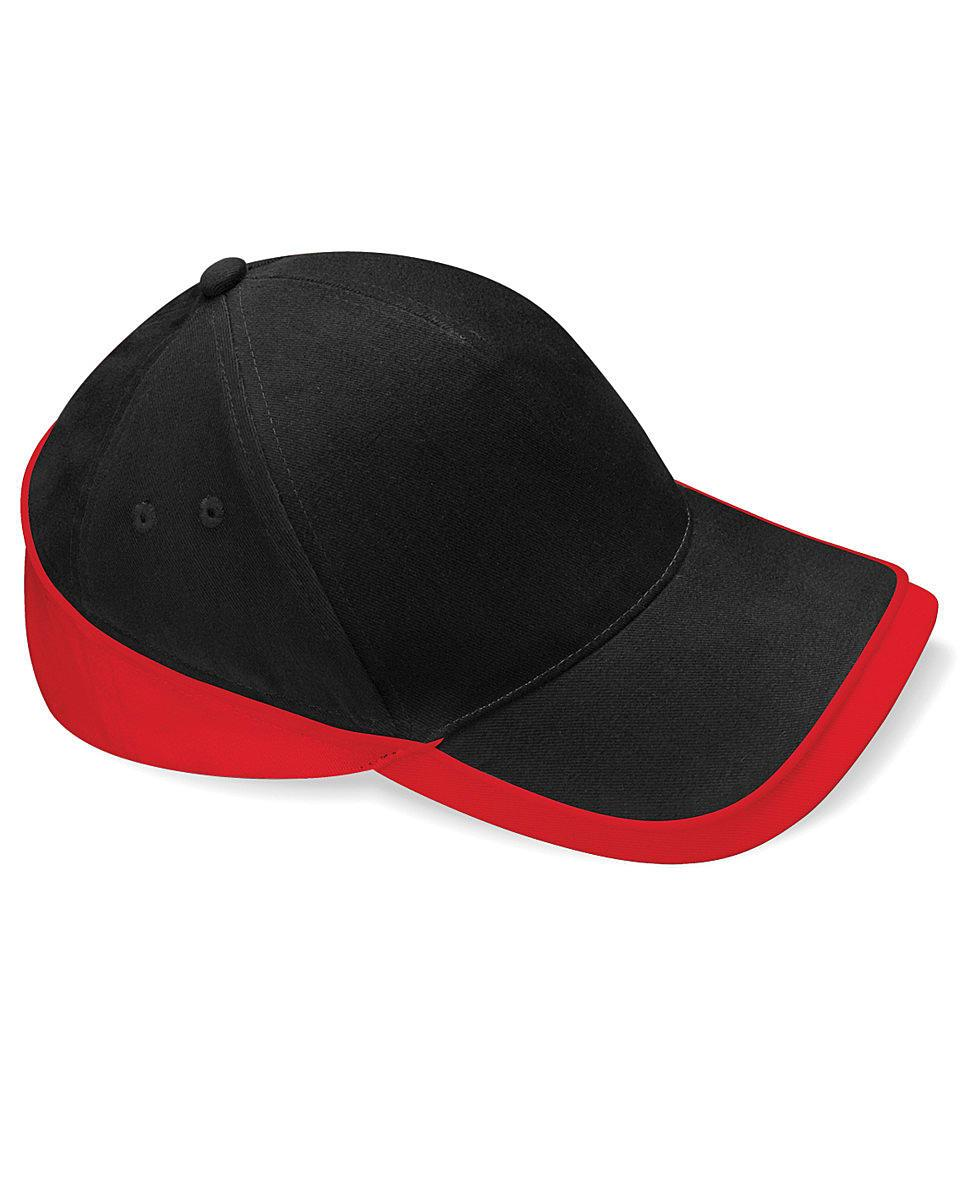 Beechfield Teamwear Competition Cap in Black / Classic Red (Product Code: B171)