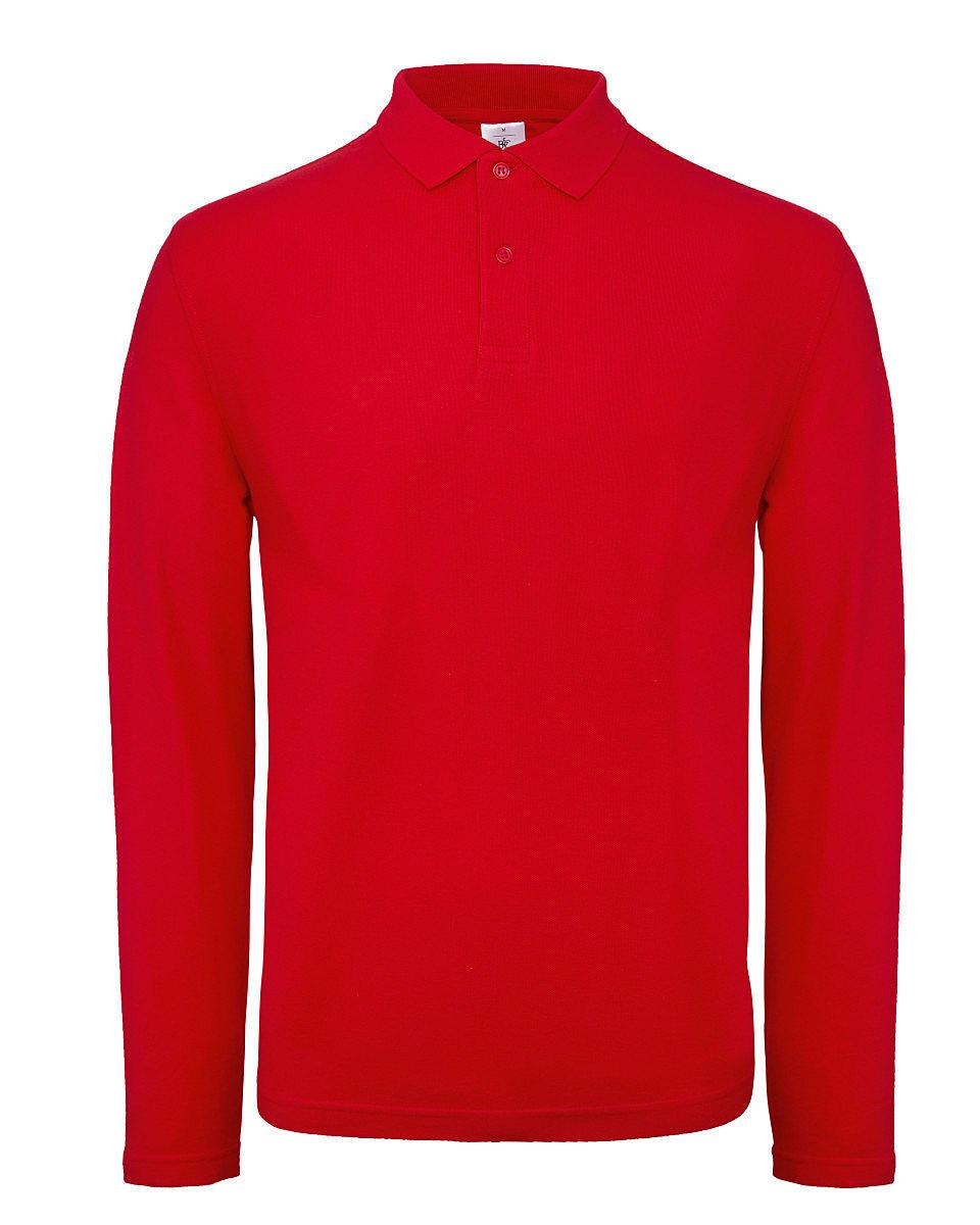 B&C Mens ID.001 Long-Sleeve Polo Shirt in Red (Product Code: PUI12)