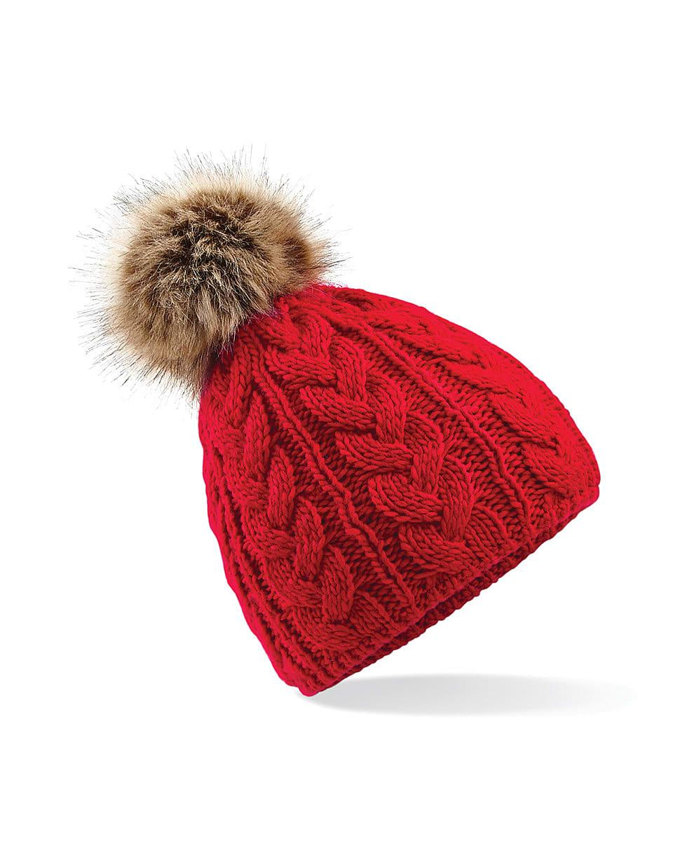 Beechfield Fur Pop Pom Cable Beanie Hat in Classic Red (Product Code: B410)