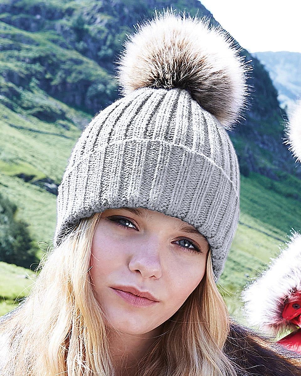 Beechfield Fur Pop Pom Chunky Beanie Hat in Light Grey (Product Code: B412)