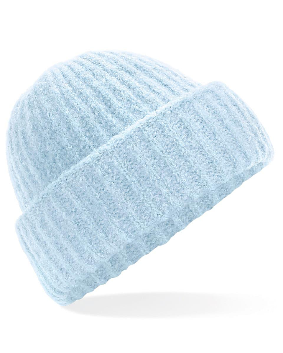 Beechfield Plush Beanie Hat in Soft Blue (Product Code: B418)