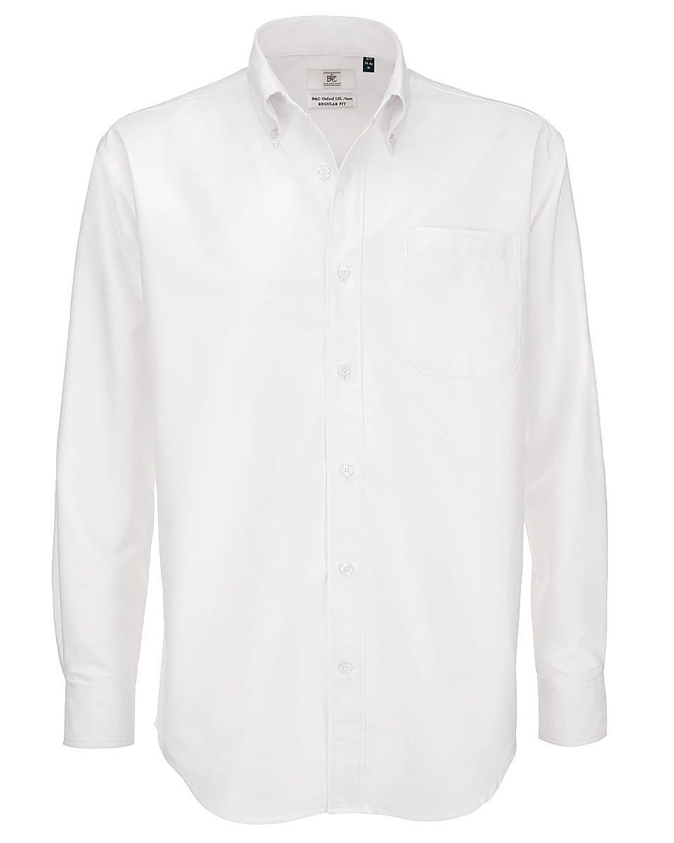 B&C Mens Oxford Long-Sleeve Shirt in White (Product Code: SMO01)