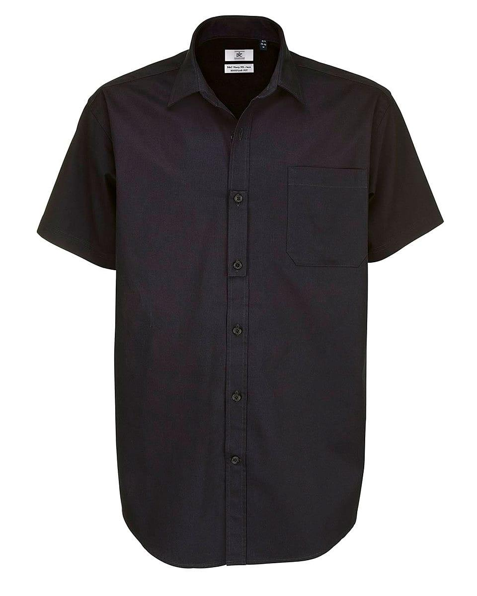 B&C Mens Sharp Twill Short-Sleeve Shirt in Black (Product Code: SMT82)