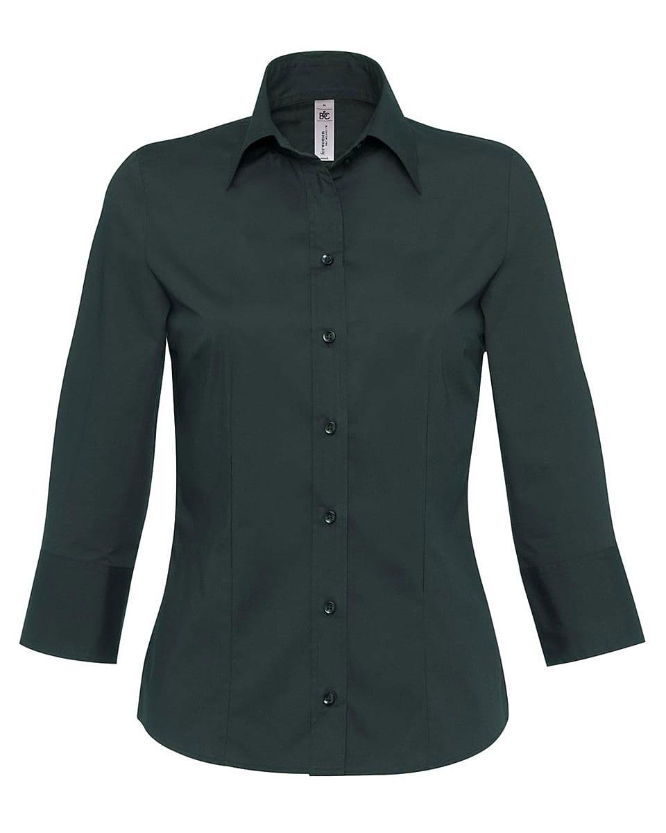 B&C Womens Milano Poplin Shirt in Black (Product Code: SW520)