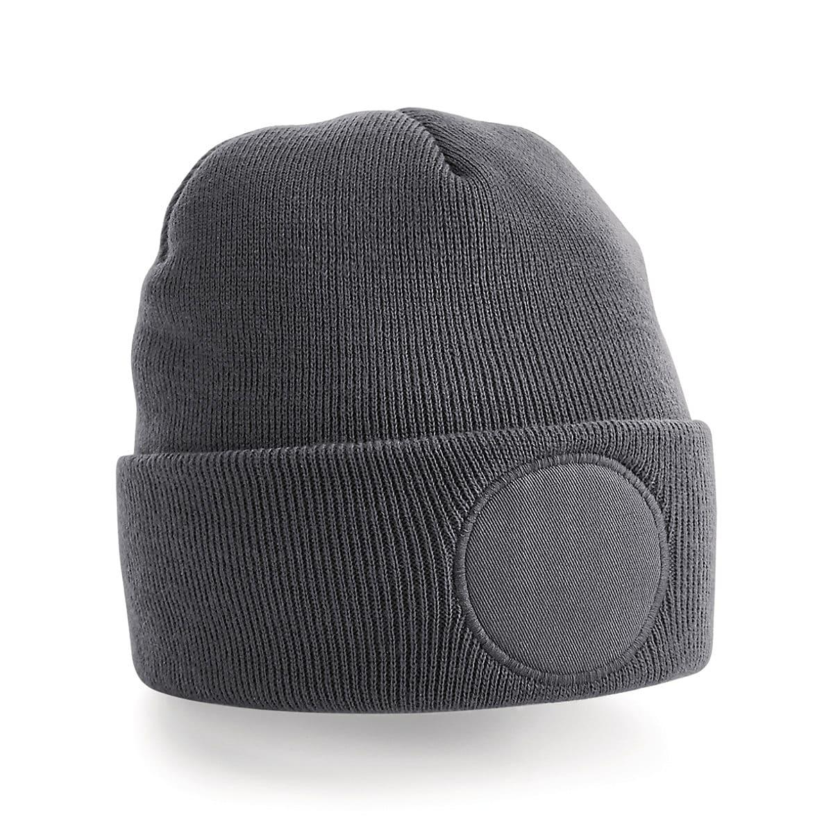 Beechfield Circular Patch Beanie Hat in Graphite (Product Code: B446)