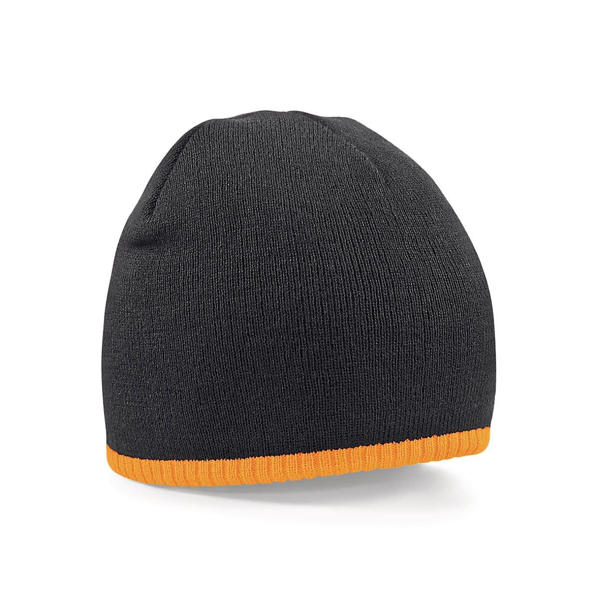 Beechfield Two-Tone Beanie Knitted Hat in Black / Fluorescent Orange (Product Code: B44C)