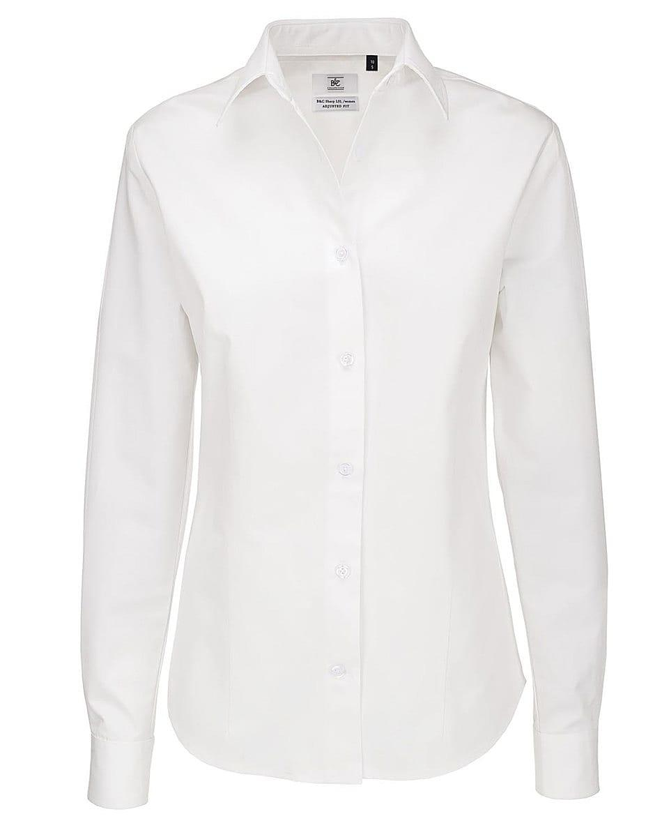B&C Womens Sharp Twill Long-Sleeve Shirt in White (Product Code: SWT83)