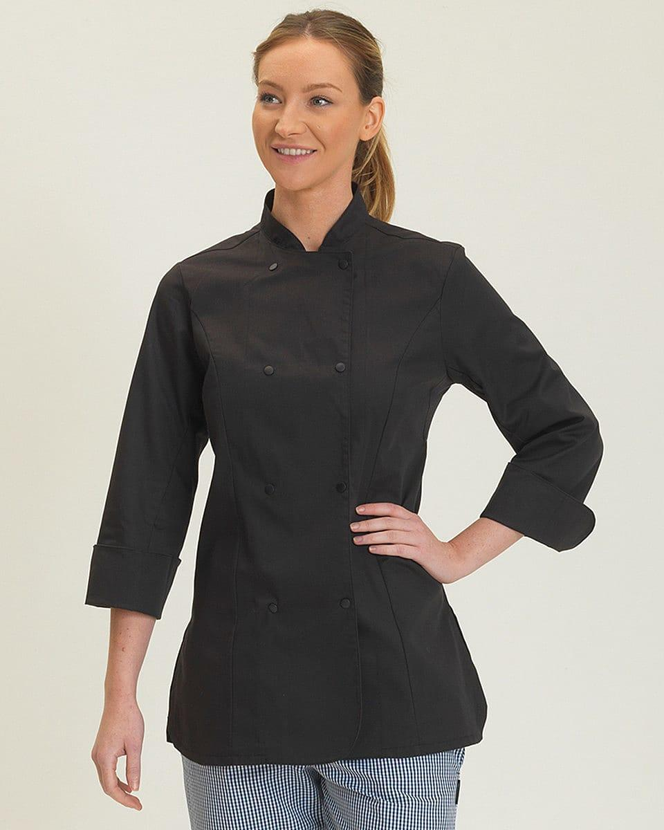 Dennys Womens Long-Sleeve Chefs Jacket in Black (Product Code: DD33L)