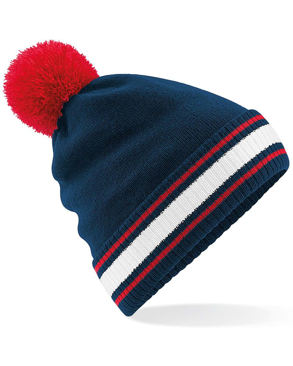 Beechfield Stadium Beanie Hat in French Navy / Classic Red / White (Product Code: B472)