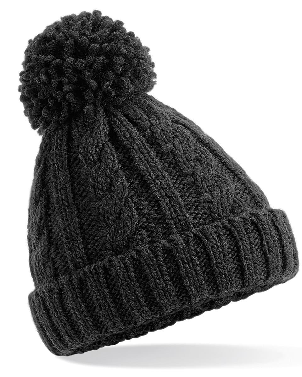 Beechfield Jr Cable Knit Melange Beanie Hat in Black (Product Code: B480B)