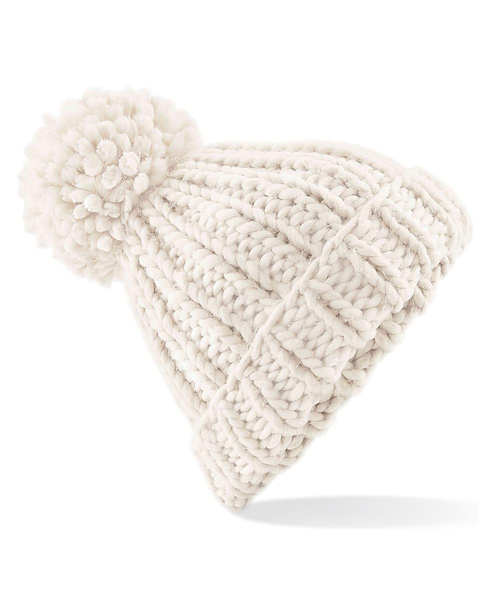 Beechfield Oversized Knitted Beanie Hat in Oatmeal (Product Code: B483)
