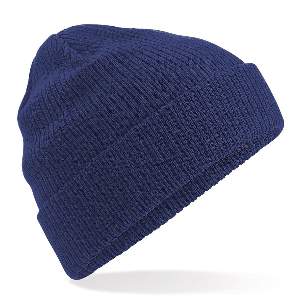 Beechfield Organic Cotton Beanie Hat in Oxford Navy (Product Code: B50)