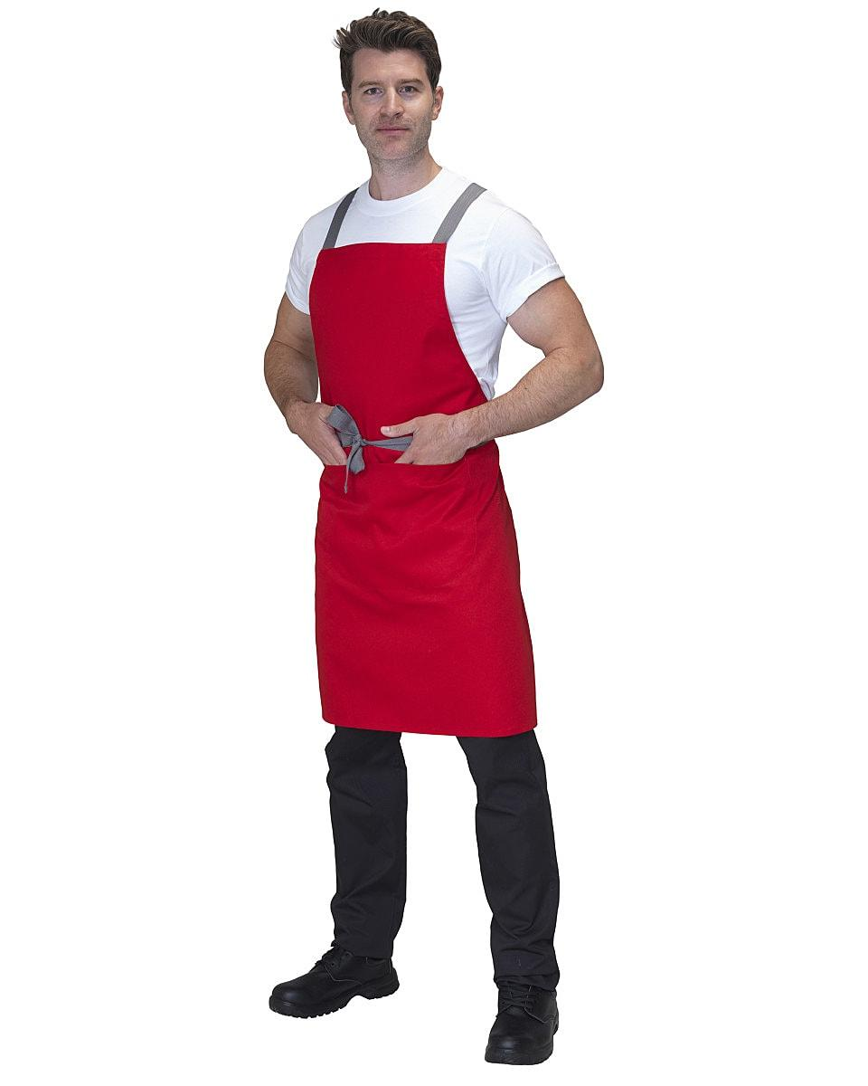 Dennys Cross Back Apron in Red (Product Code: DP130)