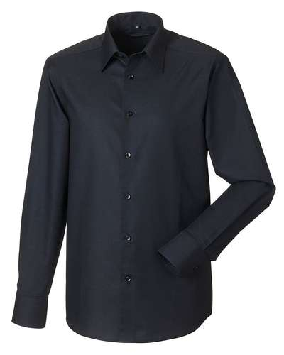 Russell Collection Mens Long-Sleeve Easy Care Tailored Oxford Shirt