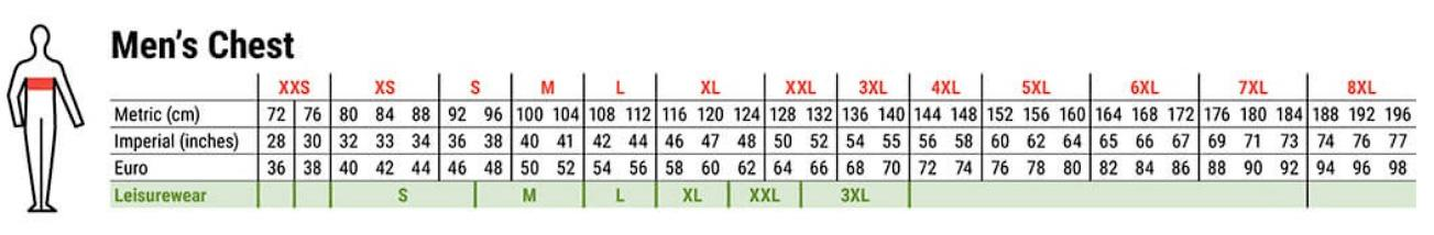 Portwest mens clothing chest size chart