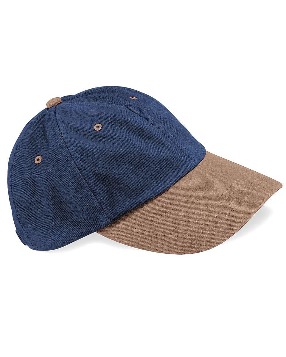 Beechfield LP Heavy Brushed Cotton Cap in French Navy / Taupe (Product Code: B57)