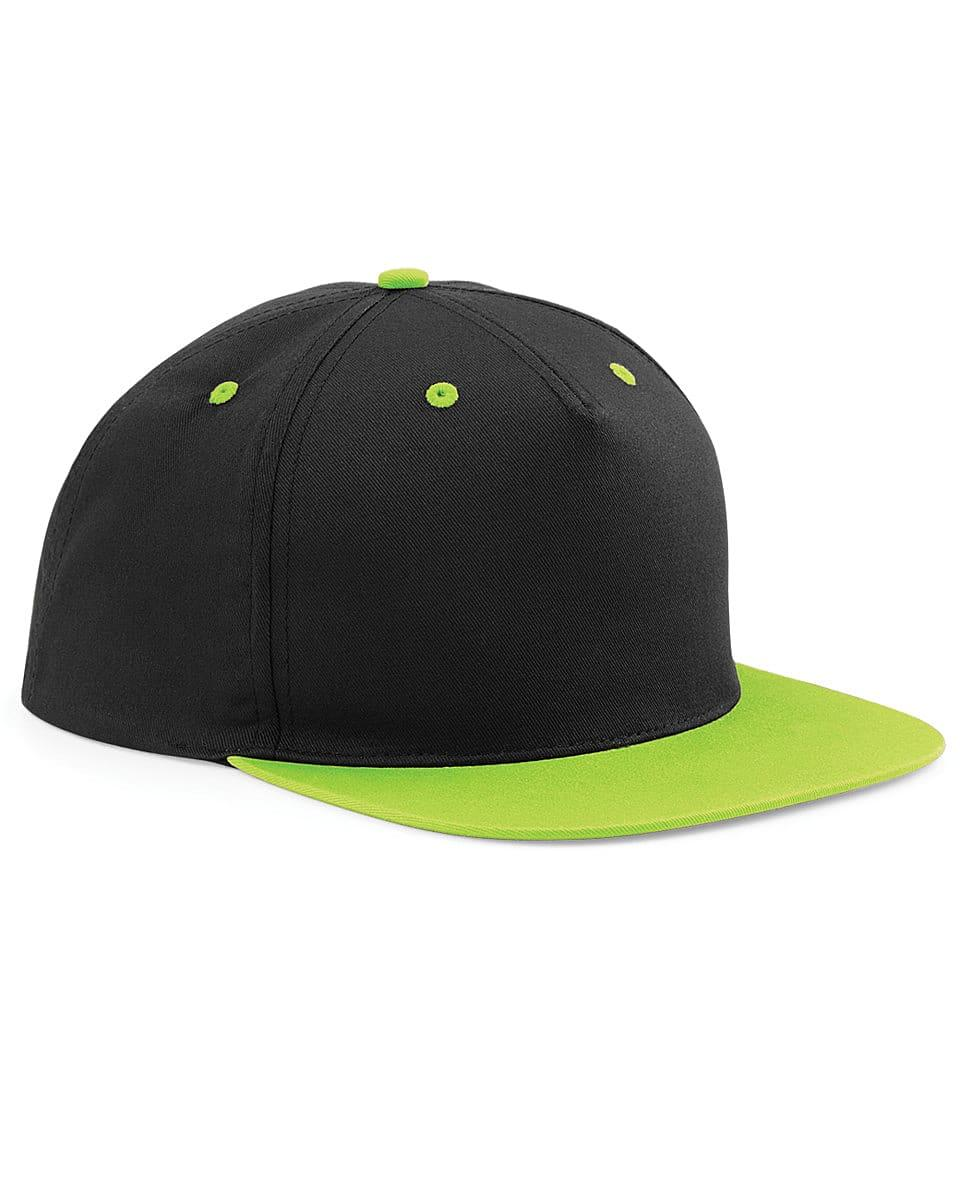 Beechfield 5 Panel Contrast Snapback Cap in Black / Lime Green (Product Code: B610C)