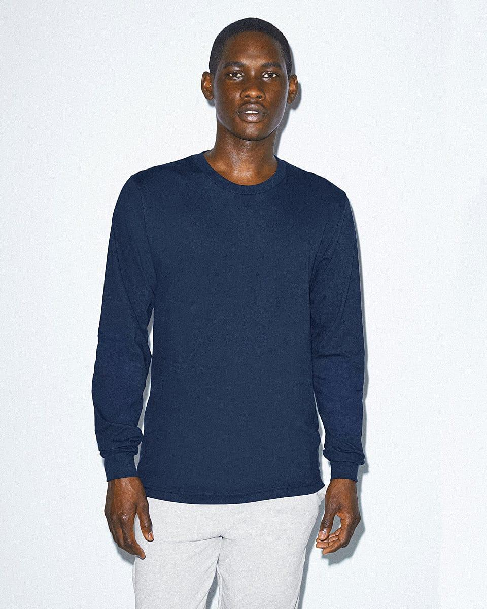 American Apparel Unisex Fine Jersey LS T-Shirt in Navy Blue (Product Code: 2007W)