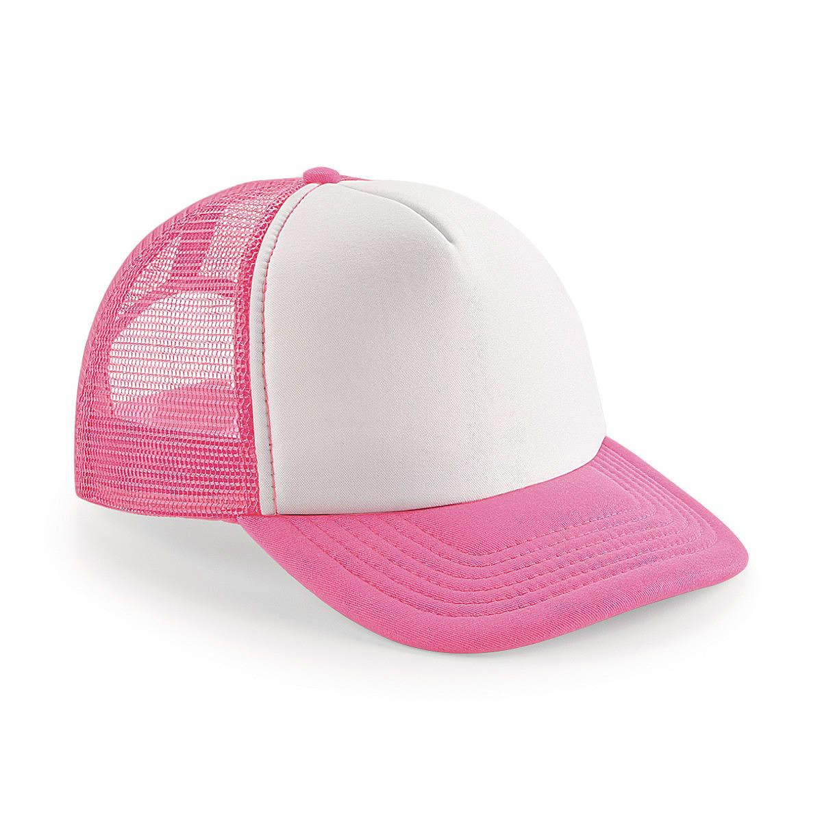 Beechfield Vintage Snapback Trucker Cap in Fluorescent Pink / White (Product Code: B645)