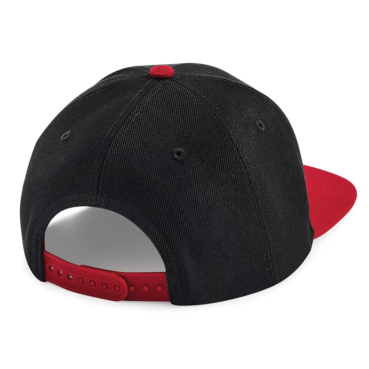 Original Flat Peak 6 Panel Snapback Cap in Black / Classic Red (Product Code: B661)