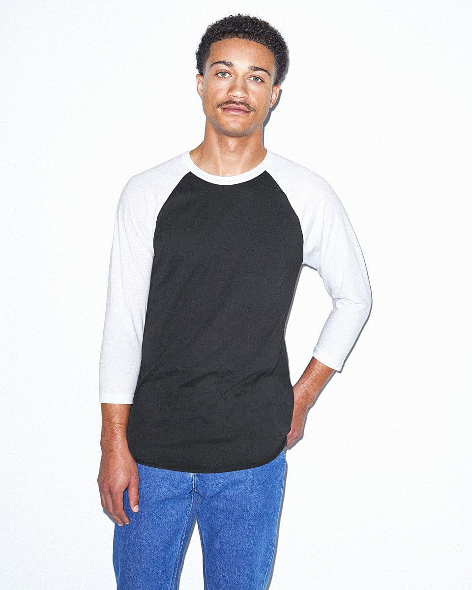 American Apparel 3/4 Raglan T-Shirt in Black / White (Product Code: BB453W)