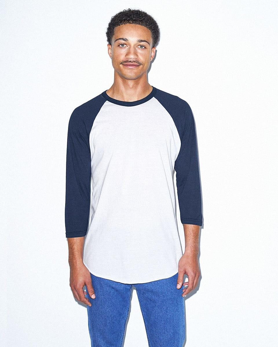 American Apparel 3/4 Raglan T-Shirt in White / Navy (Product Code: BB453W)