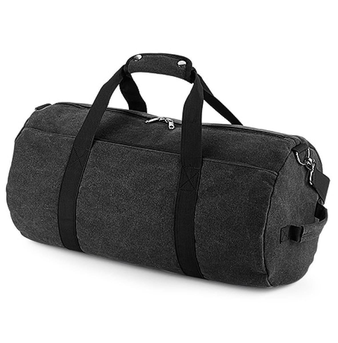 Bagbase Vintage Canval Barrel Bag in Vintage Black (Product Code: BG655)