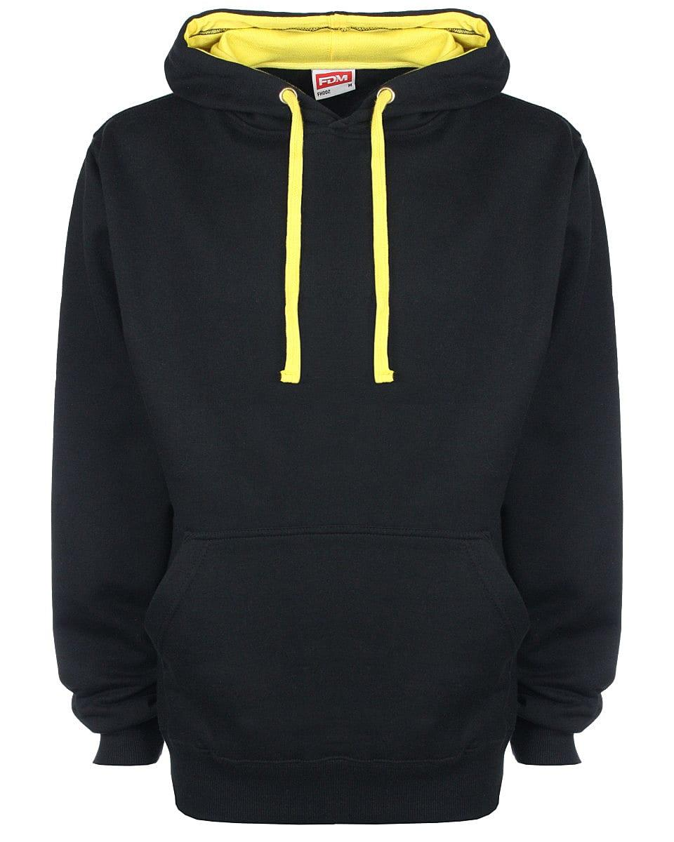 FDM Unisex Contrast Hoodie in Black / Empire Yellow (Product Code: FH002)